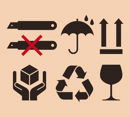 glass cutter: Packing symbols Illustration