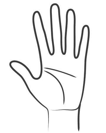 dessin au trait: Symbole de la main