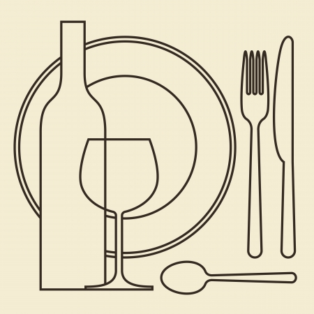 dinner plate: Bottle, wineglass, plate and cutlery