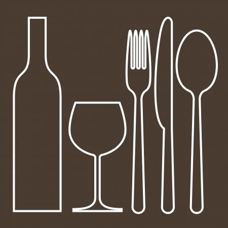 cuchara y tenedor: Botella, vaso de vino, tenedor, cuchillo y cuchara Vectores