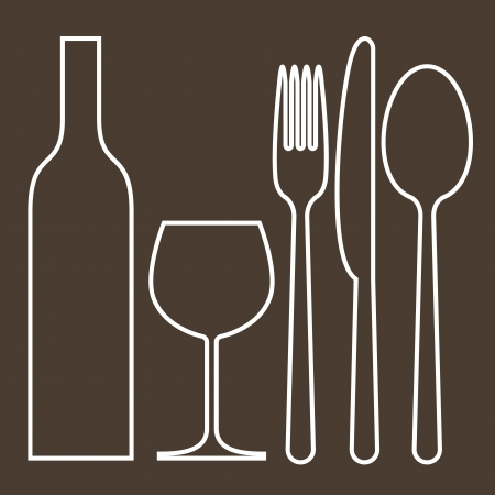 fork glasses: Bottiglia, bicchiere da vino, forchetta, coltello e cucchiaio