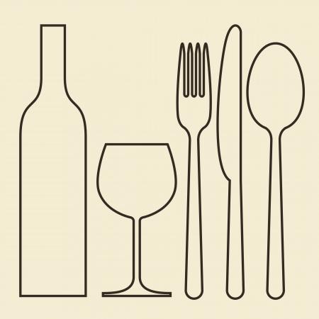 cuchillo y tenedor: Botella, vaso de vino, tenedor, cuchillo y cuchara Vectores