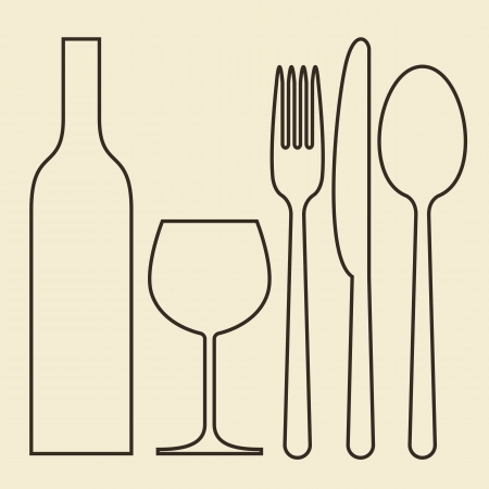 Bottle, wineglass, fork, knife and spoon Illustration