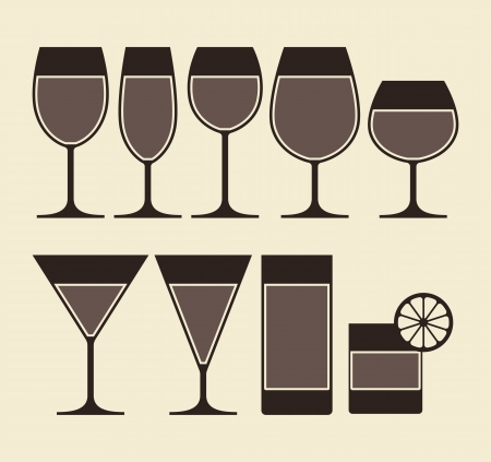 drinkware: Illustration of Alcohol, Wine, Beer, Cocktail and Water Glasses Illustration