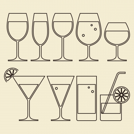 cocktails: Illustration of Alcohol, Wine, Beer, Cocktail and Water Glasses Illustration