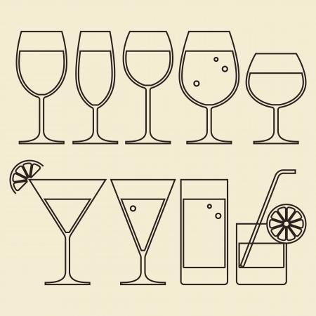 copa de martini: Ilustraci�n de las gafas de alcohol, vino, cerveza, c�cteles y Agua