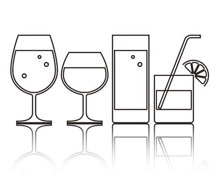 drinkware: Illustration of Wine, Beer, Cocktail and Water Glasses