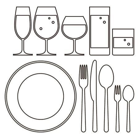 couteau fourchette cuill�re: Lunettes de plaque, couteau, fourchette, cuill�re et boire