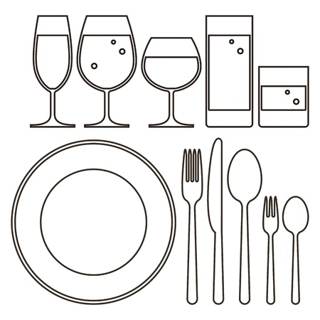 drinkware: Plate, knife, fork, spoon and drinking glasses Illustration