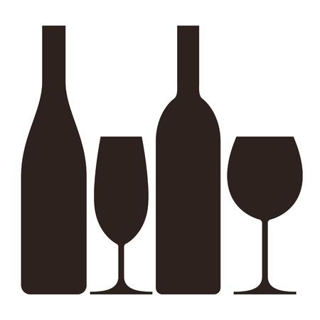 botella champagne: Botellas y vasos de vino y champ�n Vectores