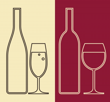 sauvignon: Bottles and glasses of wine and champagne