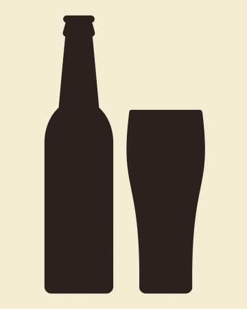 beer bottle: Bottle and glass of beer