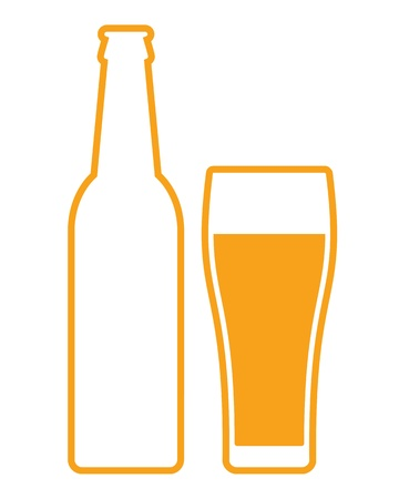 beer glass: Beer bottle and glass Illustration