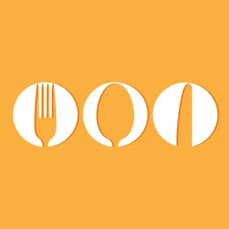 spoon yellow: Restaurant menu design whit cutlery symbols
