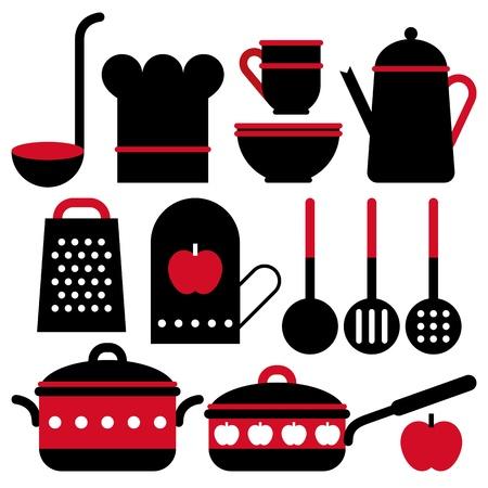 Keukengerei set geà ¯ soleerd op witte achtergrond