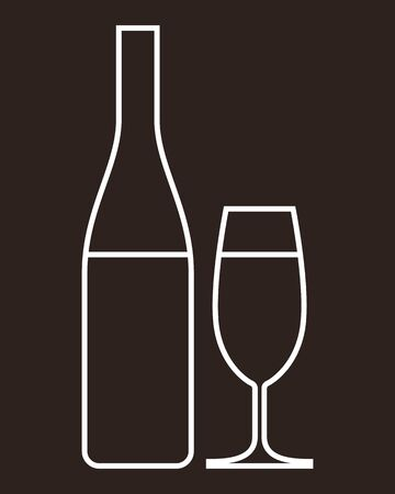 Glass of champagne and bottle - illustration  Vector