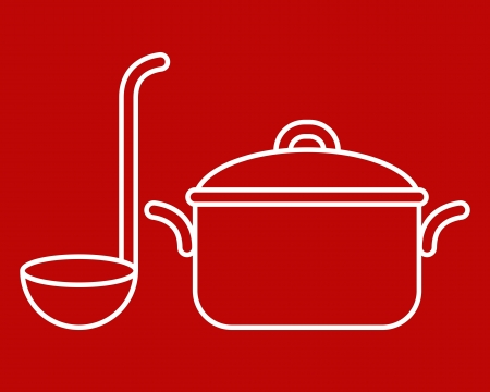ladle: Cooking pot and ladle