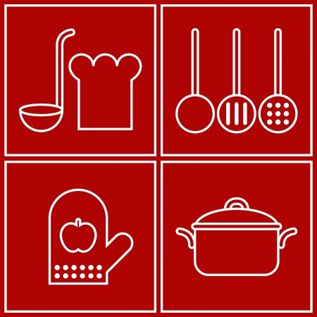 ladle: Vector kitchen symbols