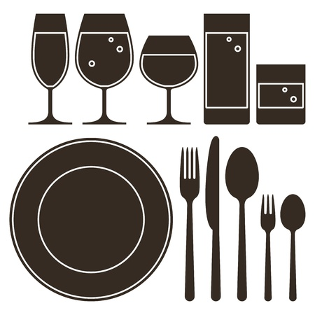 Plate, knife, fork, spoon and drinking glasses Illustration