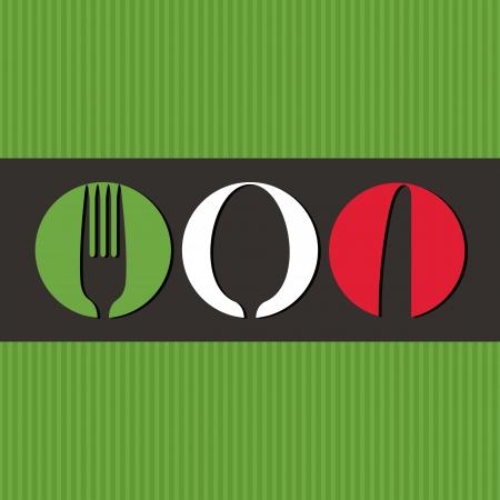 italienisches essen: Italian Men�-Design mit Besteck-Symbole