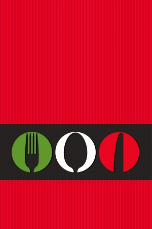 cooking utensils: Italian menu design with cutlery symbols  Illustration