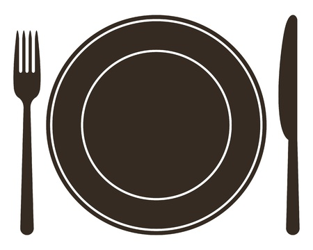 flatwares: Place setting with plate, knife and fork