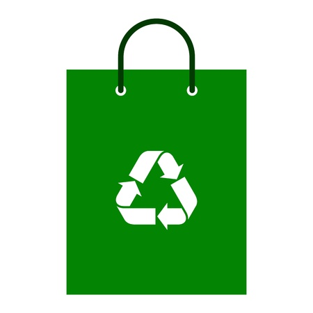 white paper bag: Green shopping bag with recycle symbol Illustration