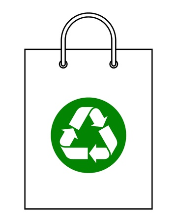 commercial recycling: Shopping bag with recycle symbol
