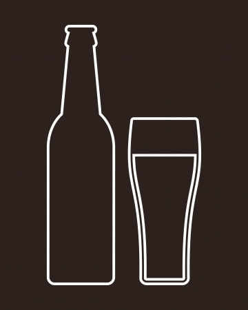 beer froth: Bottle and glass of beer
