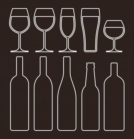 Bottles and glasses set  Stock Vector - 18853528