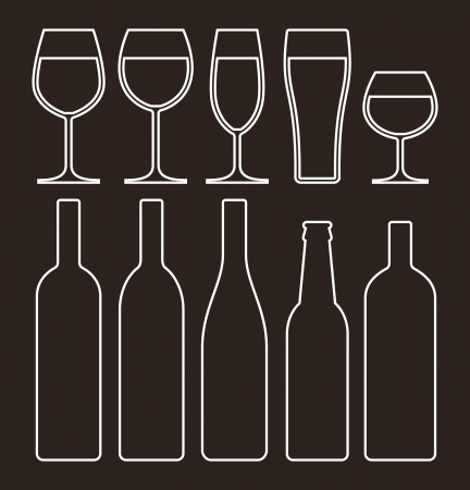 Bottles and glasses set Stock Vector - 18853528