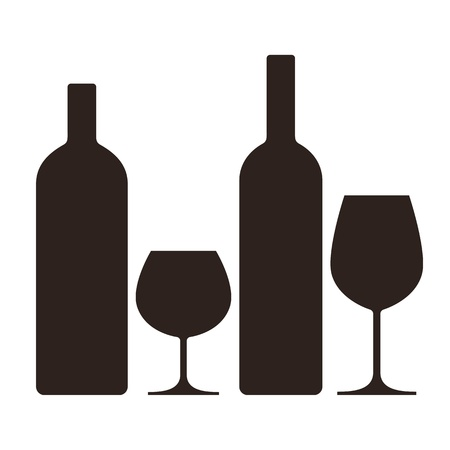 wine glass: Bottles and glasses of alcohol