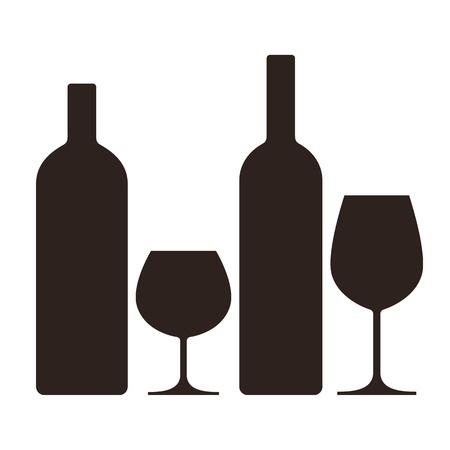 Bouteilles et verres d'alcool