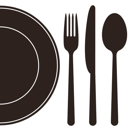 dinnerware: Plate, fork, spoon and knife Illustration