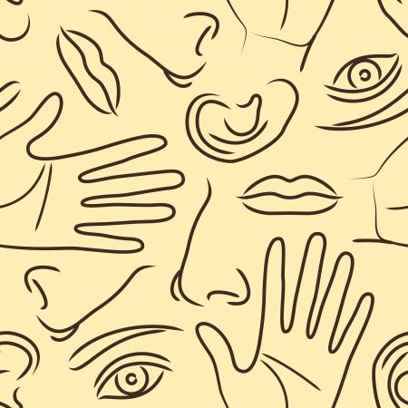snuffelen: Lichaamsdelen patroon Stock Illustratie