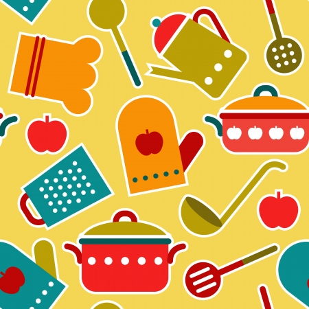 Colorful seamless pattern of kitchen utensil Illustration