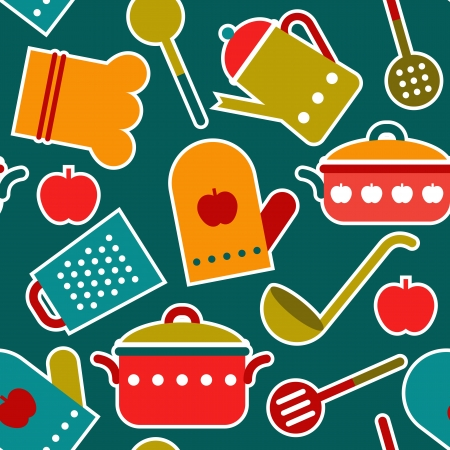 canteen: Colorful seamless pattern of kitchen utensil Illustration