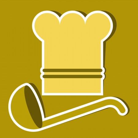 canteen: Chef`s hat and ladle. Vector kitchen symbols