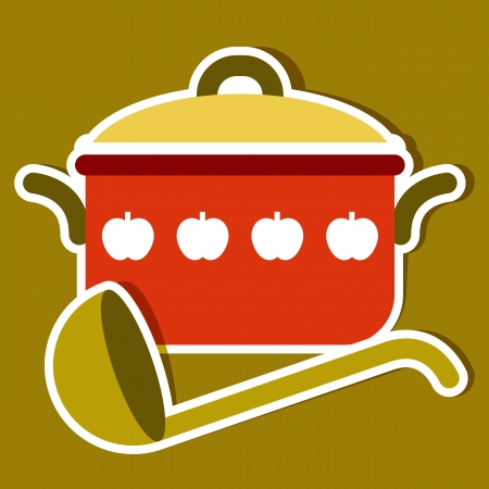 stew pot: Cooking pot and ladle. Vector kitchen symbols Illustration