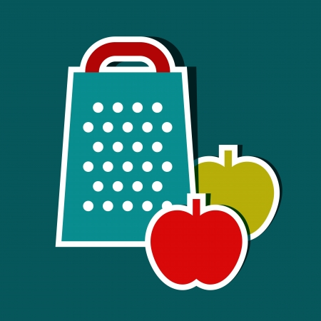Grater and apples. Vector kitchen symbols Vector