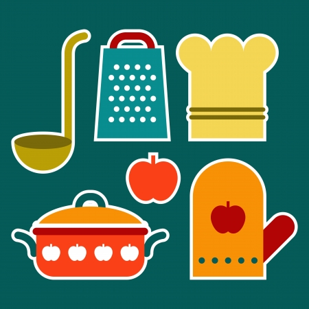 Colorful kitchen symbols Vector