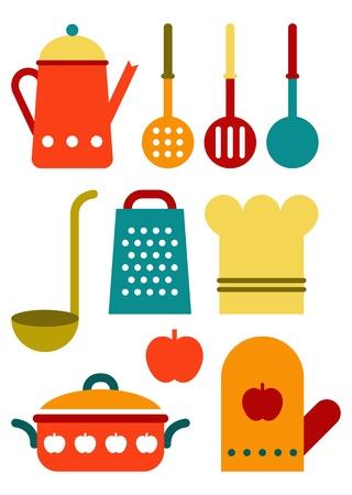 Kleurrijke keukengerei set geïsoleerd op een witte achtergrond