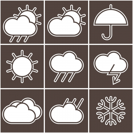 weather forecast: Black and white weather signs Illustration