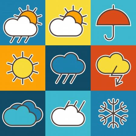 カラフルな天気記号  イラスト・ベクター素材