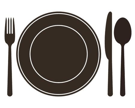 Piastra, coltello, cucchiaio e forchetta