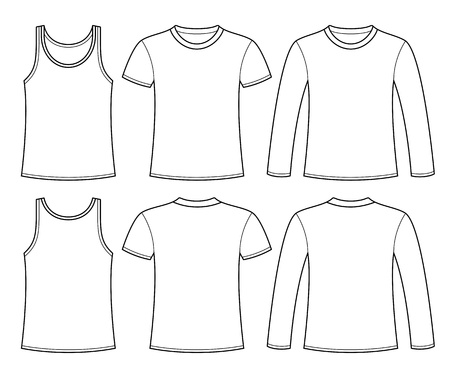 Singlet, T-shirt and Long-sleeved T-shirt template Illustration