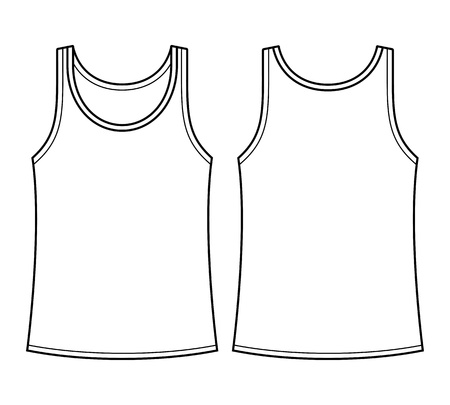 sleeveless: Blank singlet template - front and back