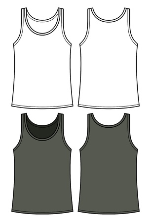 Black and white singlet template - front and back Vector