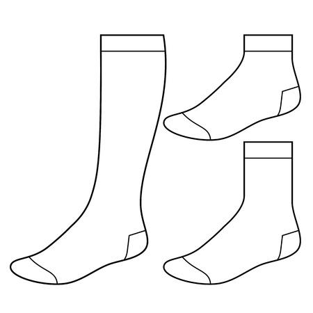Conjunto de calcetines en blanco Ilustración de vector