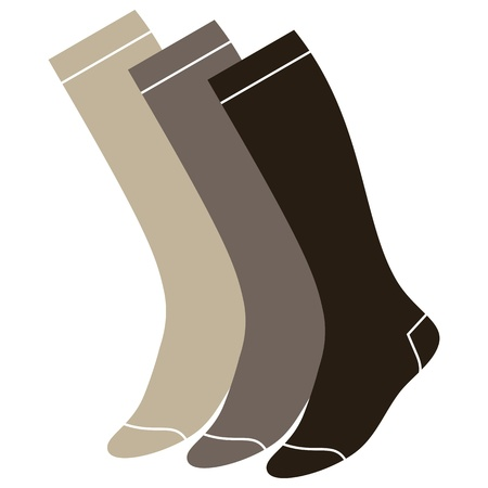 hosiery: Set of long socks isolated on white background